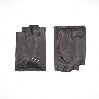 ANASTASIA Half-finger glove Lambnappa BLACK Unlined