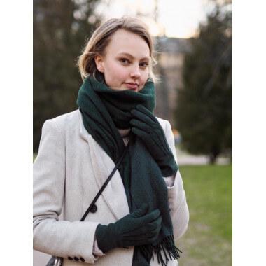 LEILA Reindeer suede FOREST GREEN 100% Cashmere