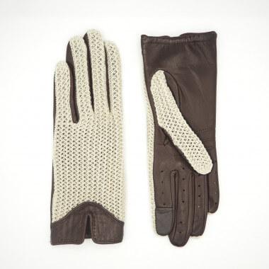 HEINI Kosketusnäyttökäsine Lambnappa/Cotton knit NATURAL/CASTAGNA Unlined