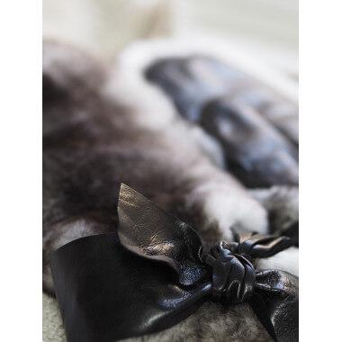 MELANIA MITTEN Lambnappa / Rabbit BLACK/GREY 100% Cashmere