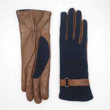 SIRU Lambnappa/cotton knit SADDLE BROWN/BLUE 100% Wool