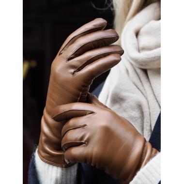KIIA Kosketusnäyttökäsine Lambnappa Cashmere blend SADDLE BROWN