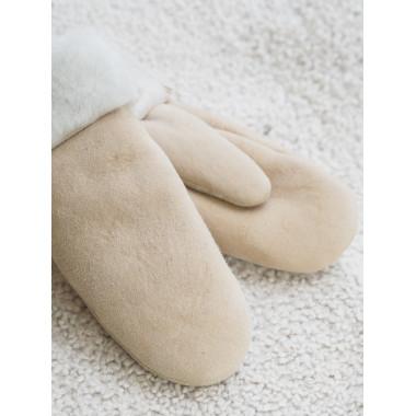 BABY MITTENS Lamb fur OFF-WHITE