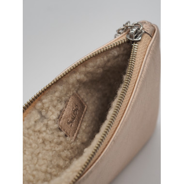 Reindeer Leather Purse ROSE GOLD Curly Fur