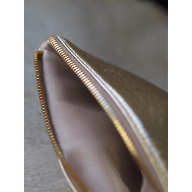 Reindeer Leather Purse GOLD Satin Lining