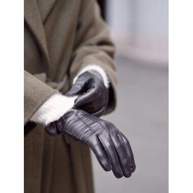 LIIA Kosketusnäyttökäsine Lambnappa BLACK 100% Silk